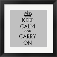 Framed Keep Calm & Carry On - White
