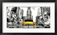 Framed Vintage Taxi in Times Square, NYC