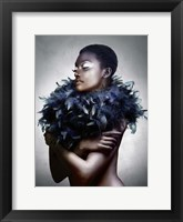 Framed Woman with Feathered Scarf