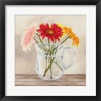 Framed Fleurs et Vases Jaune I