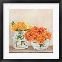 Framed Fleurs et Vases Jaune II