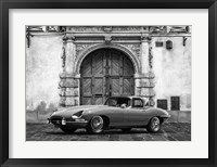 Framed Roadster in front of Classic Palace (BW)