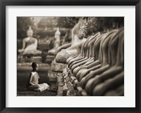 Framed Young Buddhist Monk praying, Thailand (sepia)
