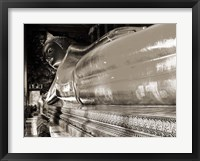 Framed Praying the reclined Buddha, Wat Pho, Bangkok, Thailand (sepia)