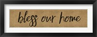 Framed Bless Our Home Burlap Long