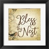 Framed Bless this Nest Scripty