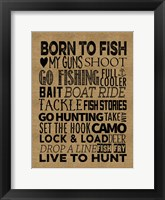 Framed Fishing Hunting Burlap