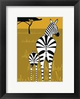 Framed Zebra Mare and Baby