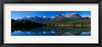 Framed Reflection of Mountains in Herbert Lake, Banff National Park, Alberta, Canada
