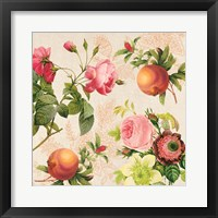 Framed Pomegranates and Roses on Cream II