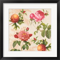 Framed Pomegranates and Roses on Cream I