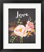 Framed Watercolor Flowers Love