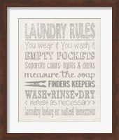 Framed Laundry Rules on Whiate