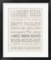 Framed Laundry Rules on Whiate