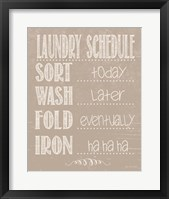 Framed Laundry Schedule - Beige