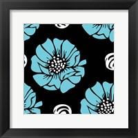 Framed Bold Turquoise Flower I