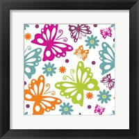 Framed Butterflies and Blooms Lively II