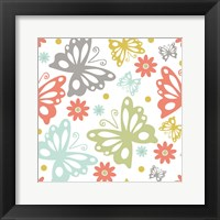 Framed Butterflies and Blooms Tranquil II