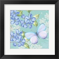 Framed Blue Floral Butterfly