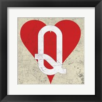 Framed Queen of Hearts Antique