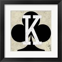Framed King of Clubs Antique