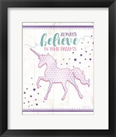 Framed Believe Unicorn