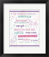 Framed Life Lessons Unicorn