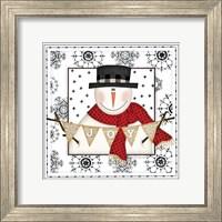 Framed Snowman Snowflake IV