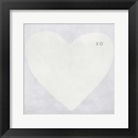 Framed Light Grey Heart - XO