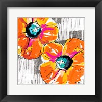 Framed Orange Grey Poppies
