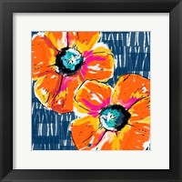 Framed Orange Poppies on Blue
