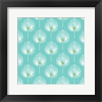 Framed Aqua and White Leaves II