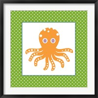 Framed Cute Orange Octopus