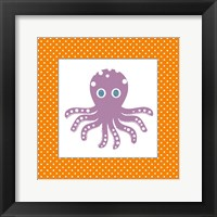 Framed Cute Purple Octopus