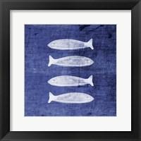 Framed Indigo Fish III