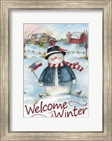 Framed Snowman Farm Scene Welcome Winter