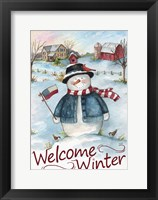 Framed Snowman Farm Scene Welcome Winter