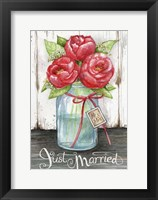 Framed Just Married Peonies