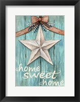 Framed White Barn Star with Bow Home White