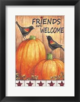 Framed Pumpkin Blackbird Friends Welcome