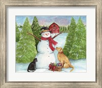 Framed Snowman Dog And Cat Farm Horizontal