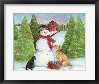 Framed Snowman Dog And Cat Farm Horizontal