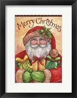 Framed Santa With Presents Merry Christmas