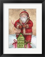 Framed Santa with Birdhouse and Presents