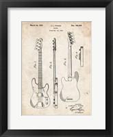 Framed Guitar Patent - Vintage Parchment