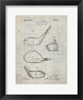 Framed Metallic Golf Club Head Patent - Antique Grid Parchment