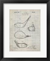 Framed Metallic Golf Club Head Patent - Antique Grid Parchment