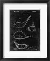 Framed Metallic Golf Club Head Patent - Black Grunge