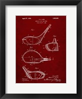 Framed Metallic Golf Club Head Patent - Burgundy