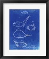 Framed Metallic Golf Club Head Patent - Faded Blueprint